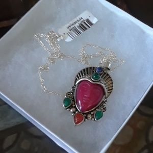 Sterling silver carved Jade and jelly opal necklac